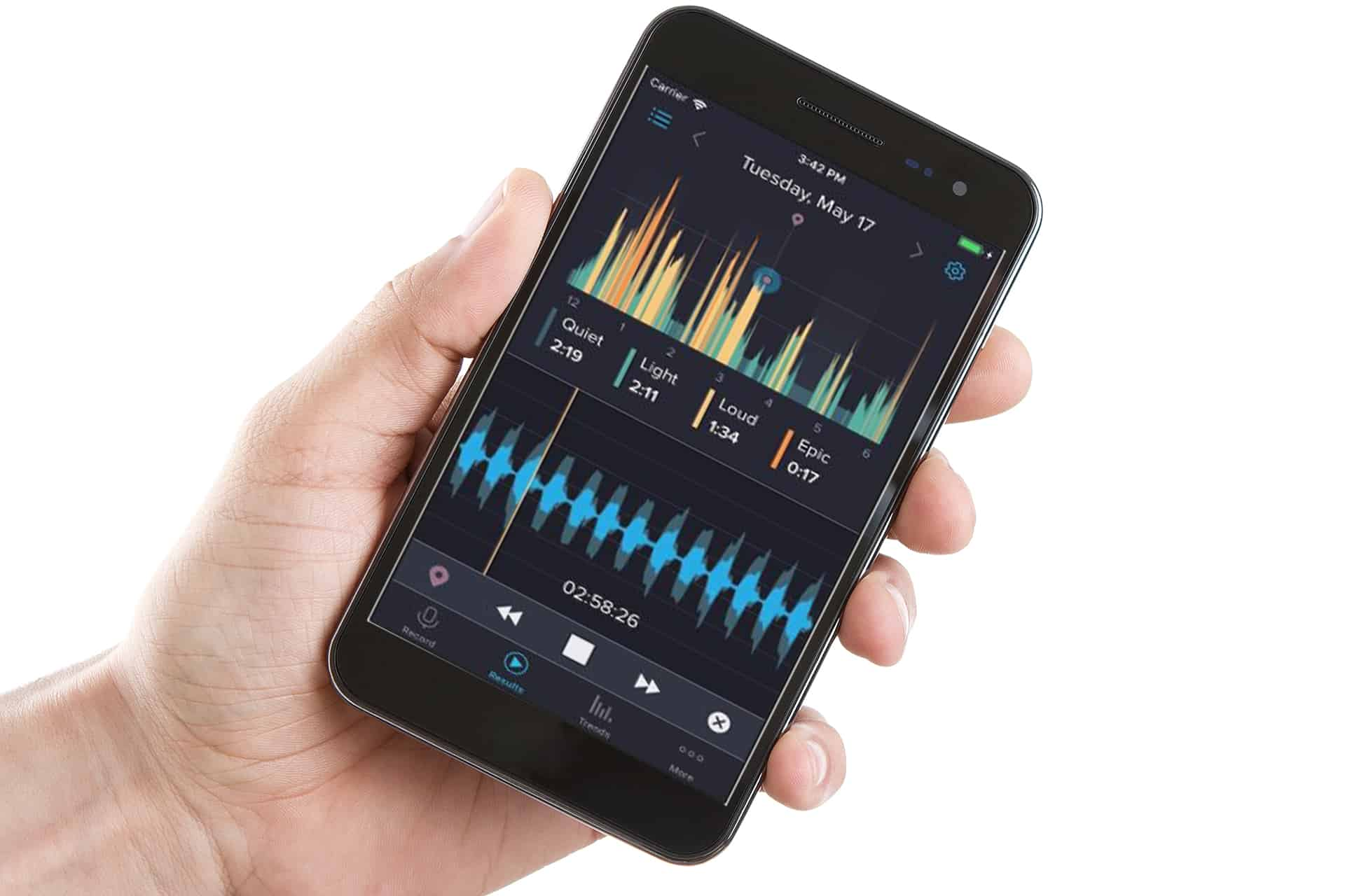 Viewing snoring app on mobile phone