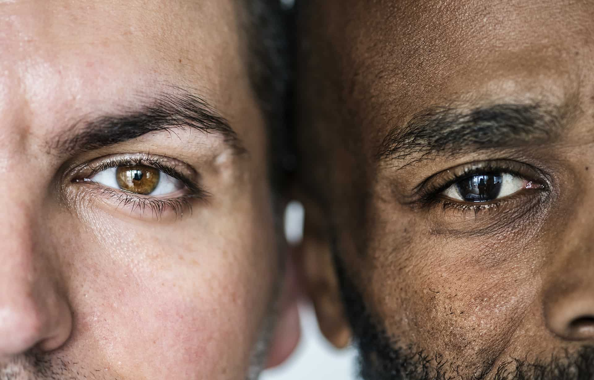 Two Men Closeup of Eyes